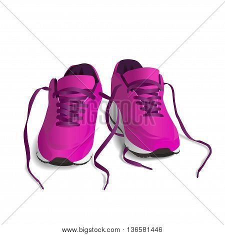 Pink Sport shoes. Running shoe sneaker isolated on white background