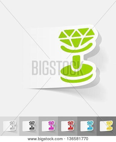 cufflink paper sticker with shadow. Vector illustration