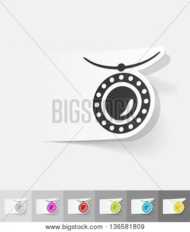 pendant paper sticker with shadow. Vector illustration