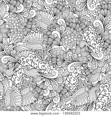 Full frame beautiful abstract seamless background filled with spiral  leafy shapes in black and white