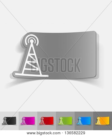 tv tower paper sticker with shadow. Vector illustration