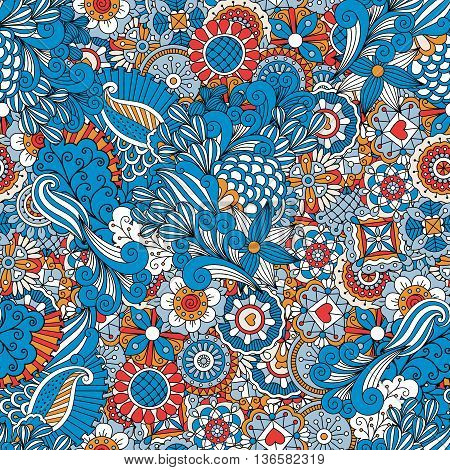 Blue red and orange vintage design floral pattern made from geometric flowers and kaleidoscope forms