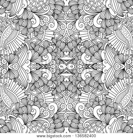 Full frame beautiful symmetrical seamless background filled with spiral  leafy shapes in black and white