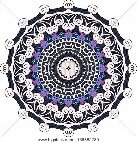Lovely black  blue and purple colored design with circular elements  hearts and geometric patterns