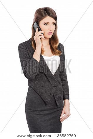 Business Woman talking on mobile phone on white