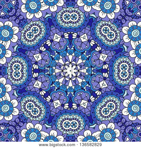 Full frame background of lovely floral patterns and other pretty geometric designs