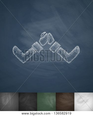 business arm wrestling icon. Hand drawn vector illustration. Chalkboard Design
