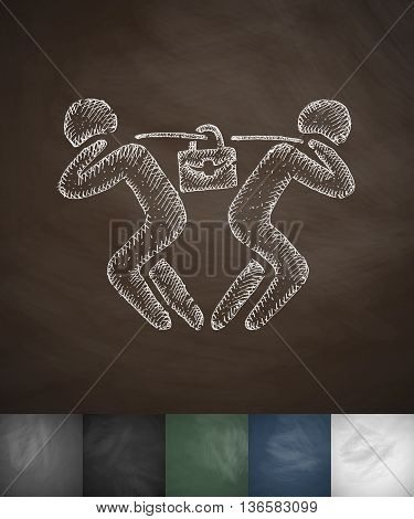 tug of war icon. Hand drawn vector illustration. Chalkboard Design