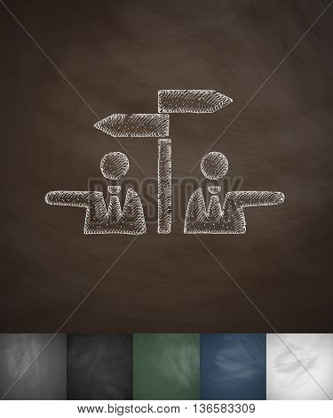 controversy icon. Hand drawn vector illustration. Chalkboard Design