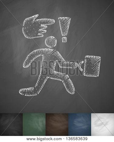 businessman runs icon. Hand drawn vector illustration. Chalkboard Design
