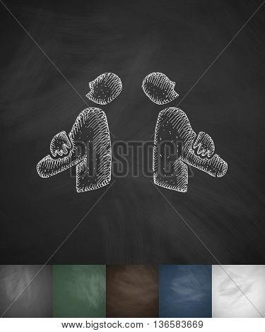 two businessmen icon. Hand drawn vector illustration. Chalkboard Design
