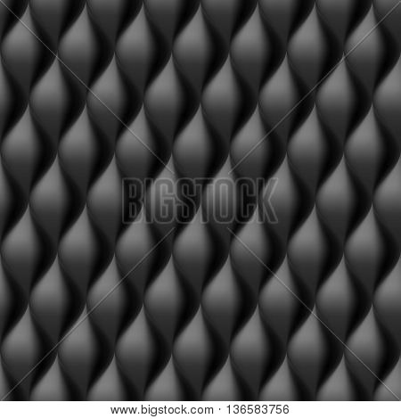 Vertical Convex Wavy Seamless Pattern. Black Color Background