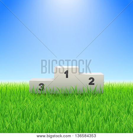 Pedestal with numbers on the green grass field