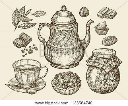 Food, tea, dessert. Hand-drawn vintage teapot, kettle, cup, raspberry jam chocolate candy fruitcake pastry Sketch vector illustration