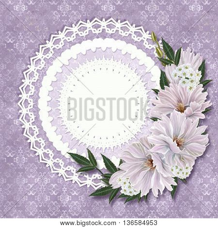 Vintage postcard. Old style. Bunch of white and pink chrysanthemums on a pastel background invitation card.