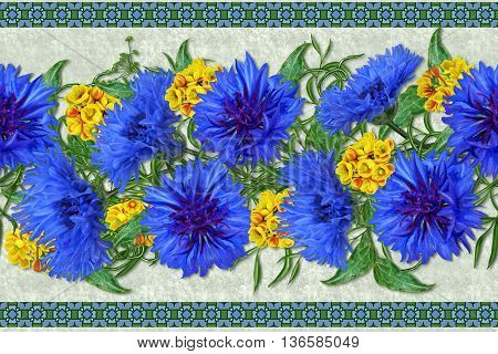 Horizontal floral border. Pattern seamless. Bouquet of blue cornflowers and yellow barberry.