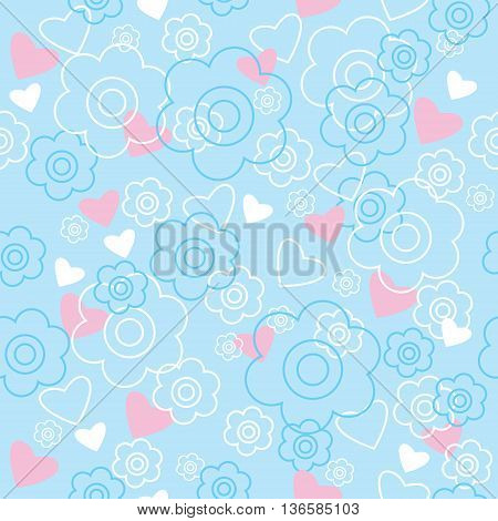 Seamless pattern with a flowers and hearts