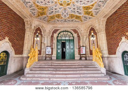 BUDAPEST HUNGARY - APRIL 08 2016: Interior of the Museum of Applied Arts in Budapest