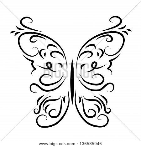 Graphically patterned decorative butterfly on a white background