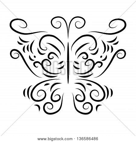 The patterned butterfly with a curls isolate