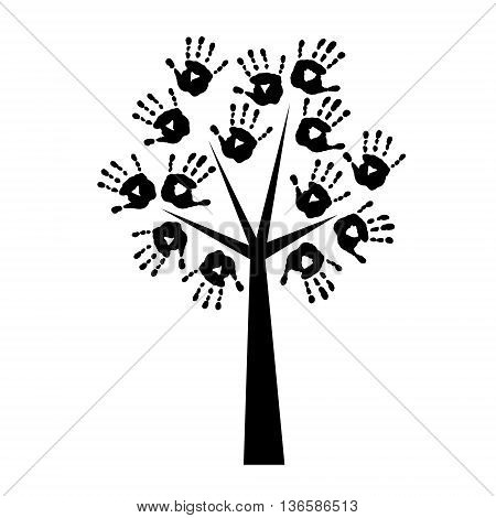 Silhouette of a tree with a handprints