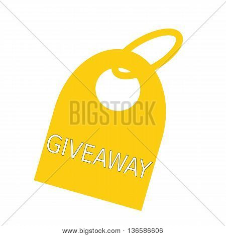 Giveaway white wording on background yellow key chain
