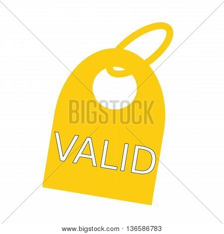 valid white wording on background yellow key chain