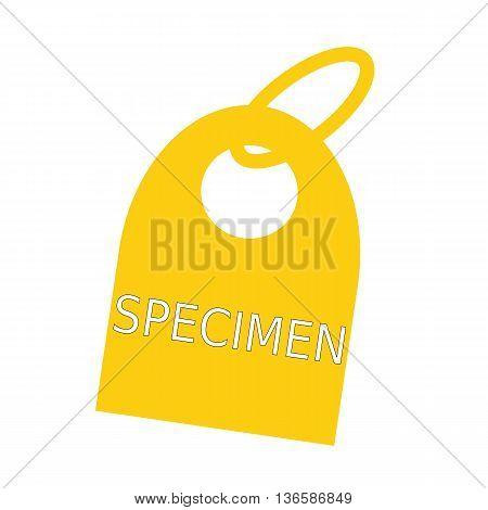 specimen white wording on background yellow key chain