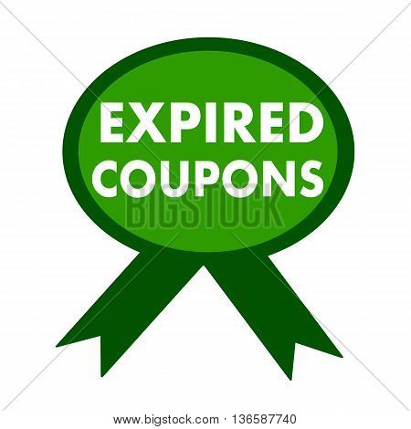 expired coupons white wording on background green ribbon