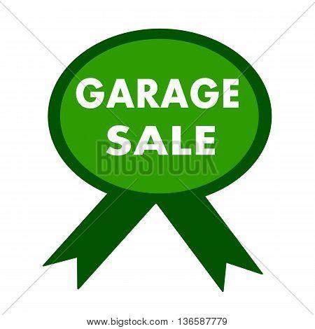 garage sale white wording on background green ribbon