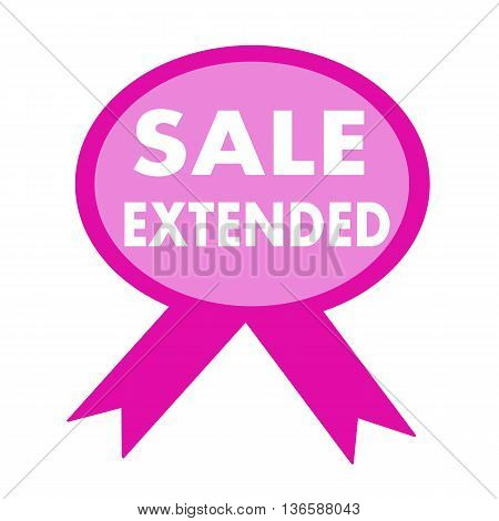 sale extended white wording on background pink ribbon