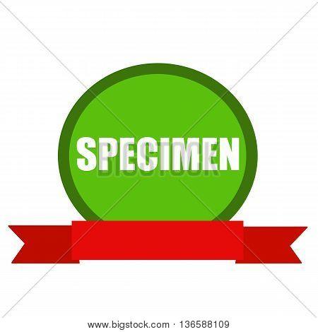 SPECIMEN white wording on Circle green background ribbon red