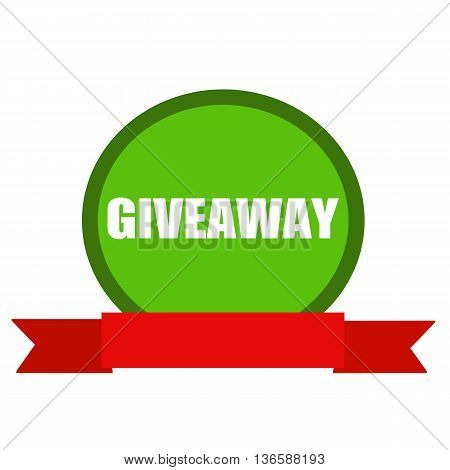Giveaway white wording on Circle green background ribbon red