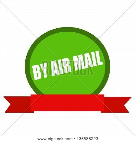 By air mail white wording on Circle green background ribbon red