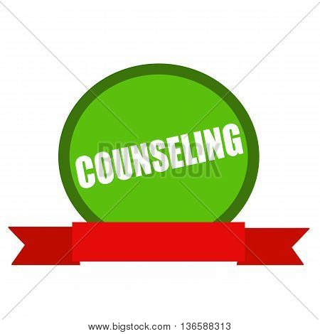 COUNSELING white wording on Circle green background ribbon red