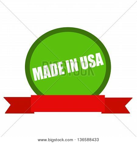 Made in USA white wording on Circle green background ribbon red
