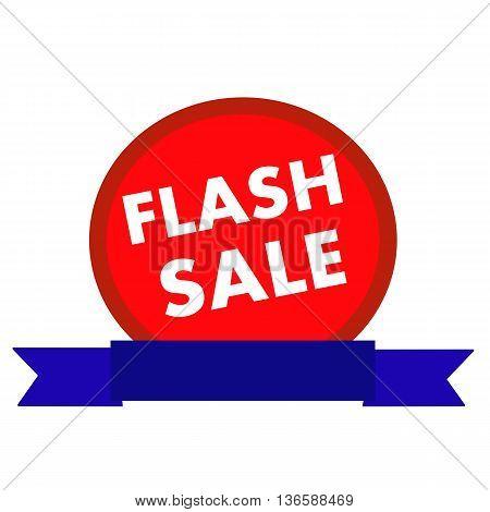 flash sale white wording on Circle red background ribbon blue