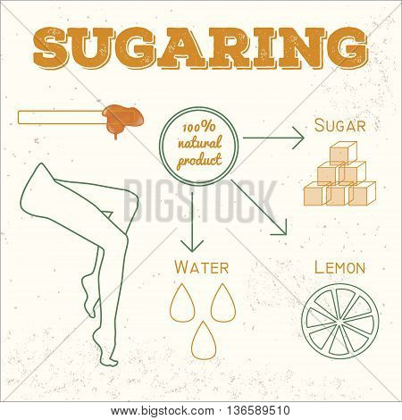 Vector sugaring illustration. sugar paste ingredients for epilation