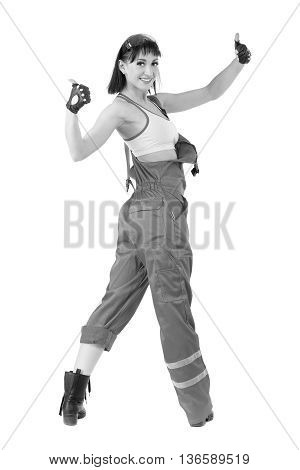 colorless portrait of young builder woman in uniform. Isolated over white background