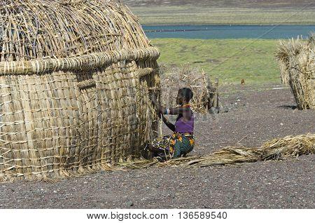 El Molo Woman Makes Traditional Hut  Near Lake Turkana, Kenya.