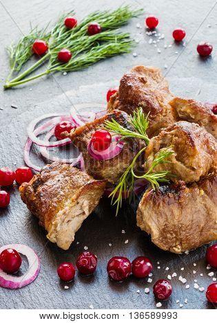 Grilled pork meet (shashlik) on black stone background. Fresh onion cranberries and dill.