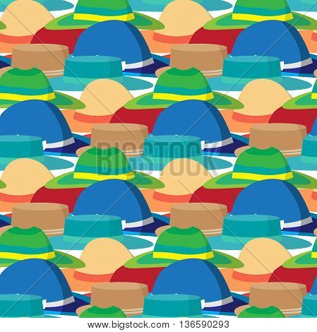 Seamless textile pattern with vector modern flat design of different colored beach hats