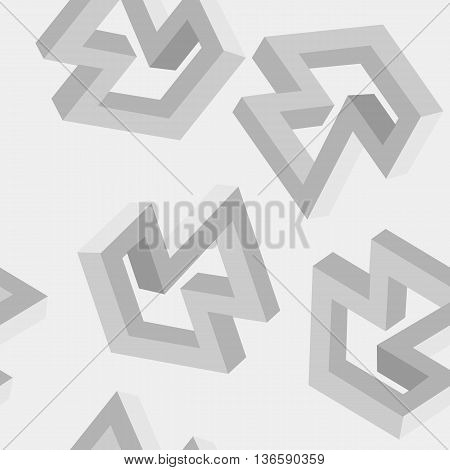Geometric simple monochrome minimalistic pattern of impossible shapes