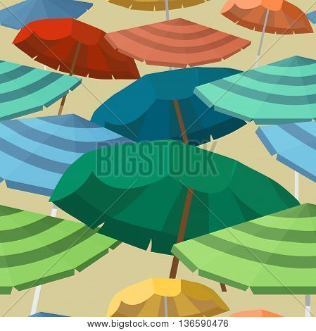 Seamless vector pattern with beach umbrellas. Seasons objects parasol.