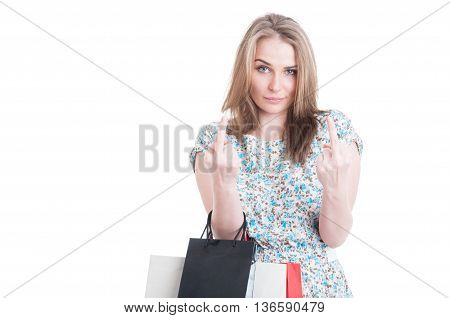 Naughty Female Shopper Showing Both Middle Fingers