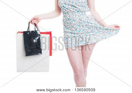 Stylish Outfit Concept With Young Girl Doing Shopping