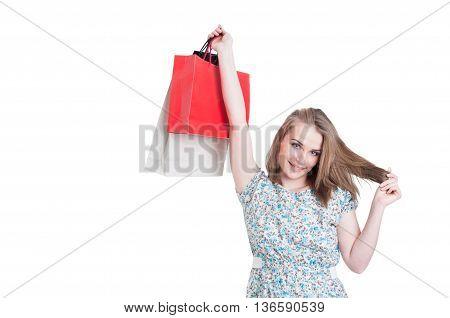 Joyful Nice Woman Rising Up Gift Bags