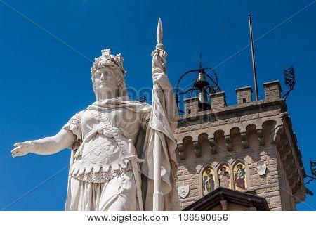 Close up of Palazzo Pubblico in San Marino