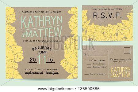 Elegant wedding invitation set with rsvp card on kraft paper