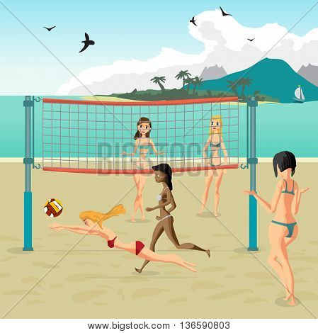 Four girls playing volleyball on the beach. Beach volleyball, net, women in bikinis. Flat cartoon vector illustration. Girl in a red bathing suit jumping for the ball
